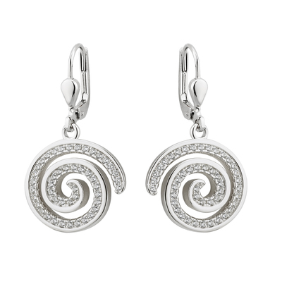 S/S CZ SPIRAL DROP EARRINGS(BOXED)
