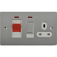 Schneider Ultimate Low Profile small cooker switch with neon Polished Chrome with White Insert | LV0701.0235