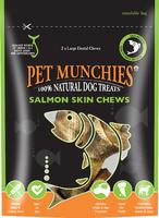 Pet Munchies Dog Treats Large Salmon Skin Chews 125g x 6