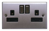 FEP Low Profile Satin Chrome 13A 2G DP Switch Socket Black Insert Chrome Switch | LV0801.0014