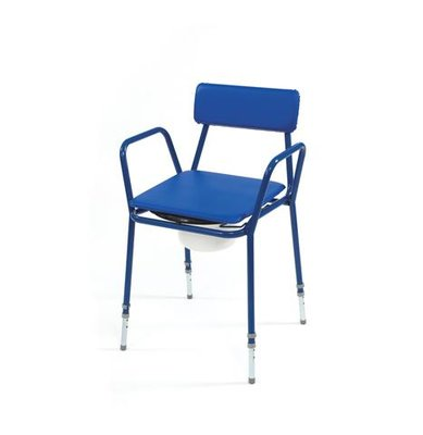 Blue Stackable Commode with Adjustable Height and Fixed Arms
