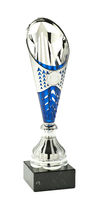 30cm Silver & Blue Star Cup on Black Marble