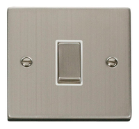 Click Deco Victorian Stainless Steel with White Insert  1 Gang 2 Way 'Ingot' Switch | LV0101.0099