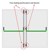 5 PT DOUBLE DOOR PANIC BOLT SET T/S PVC/TIMBER