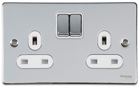 Schneider Ultimate Low Profile 2 gang socket Polished Chrome with White Insert | LV0701.0046