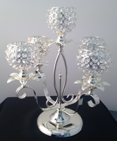 Candelabra Table Centerpiece 5 Clear Crystal cups Silver Plated