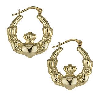 nine karat Gold Medium Claddagh Hoop Earrings S3371 from Solvar Jewellers, Ireland