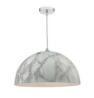 Magnus 1 Light Pendant, White & Grey Marble Effect | LV1802.0076