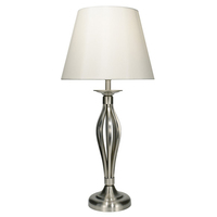Bybliss Table Lamp Satin Chrome with Cream Shade