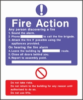 Fire Action Sign FACT0003-0440