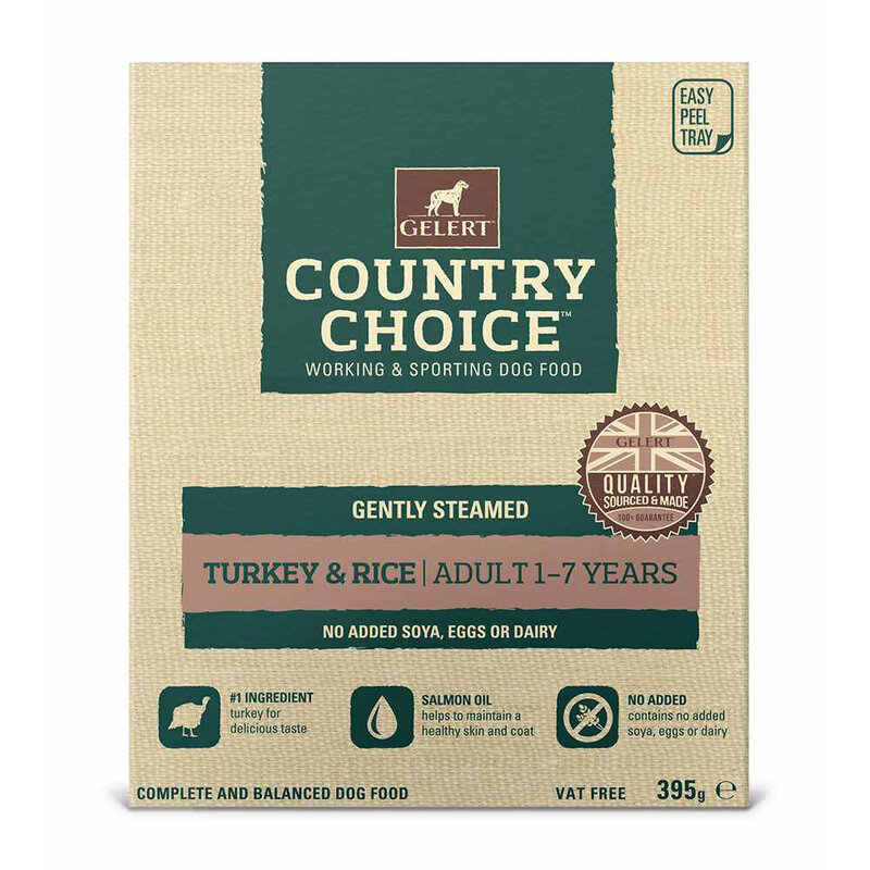 Gelert Country Choice Turkey & Rice Tray Dog Food 10 x 395g