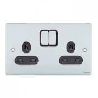 Schneider Ultimate Low Profile 2 gang socket Polished Chrome with Black Insert | LV0701.0065