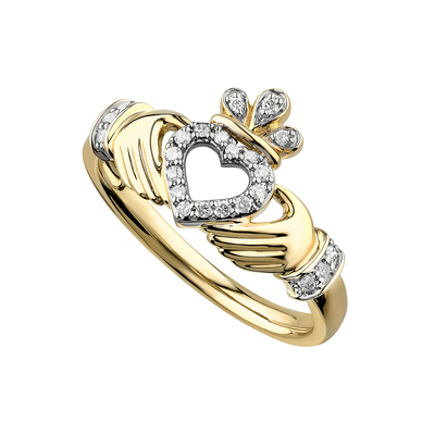 14K DIAMOND CLADDAGH OPEN HEART RING(BOXED)