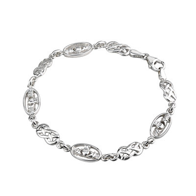 SILVER CLADDAGH AND CELTIC LINKS BRACELET (BOXED)