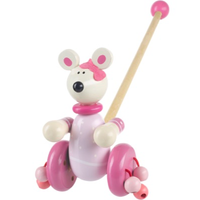 Wooden Push Along - Pink Mouse