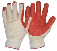 Heavy Duty Latex Coat Diamond Grip Glove White/Red Pkt 12