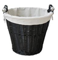 Round Black Wicker Basket With Liner & Handles