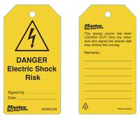 "Master Lock Guardian Extreme™ tag ""danger electric shock risk"" (6 tags/pack) uk regulations"