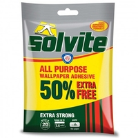 SOLVITE ALL PURPOSE WALLPAPER ADHESIVE RETAIL 7.5 ROLL (50% EXTRA)