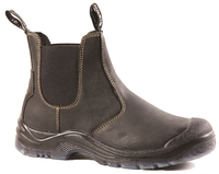 Bison Grizzly Steel Toe Slip On Safety Boot c/w Scuff Cap Black