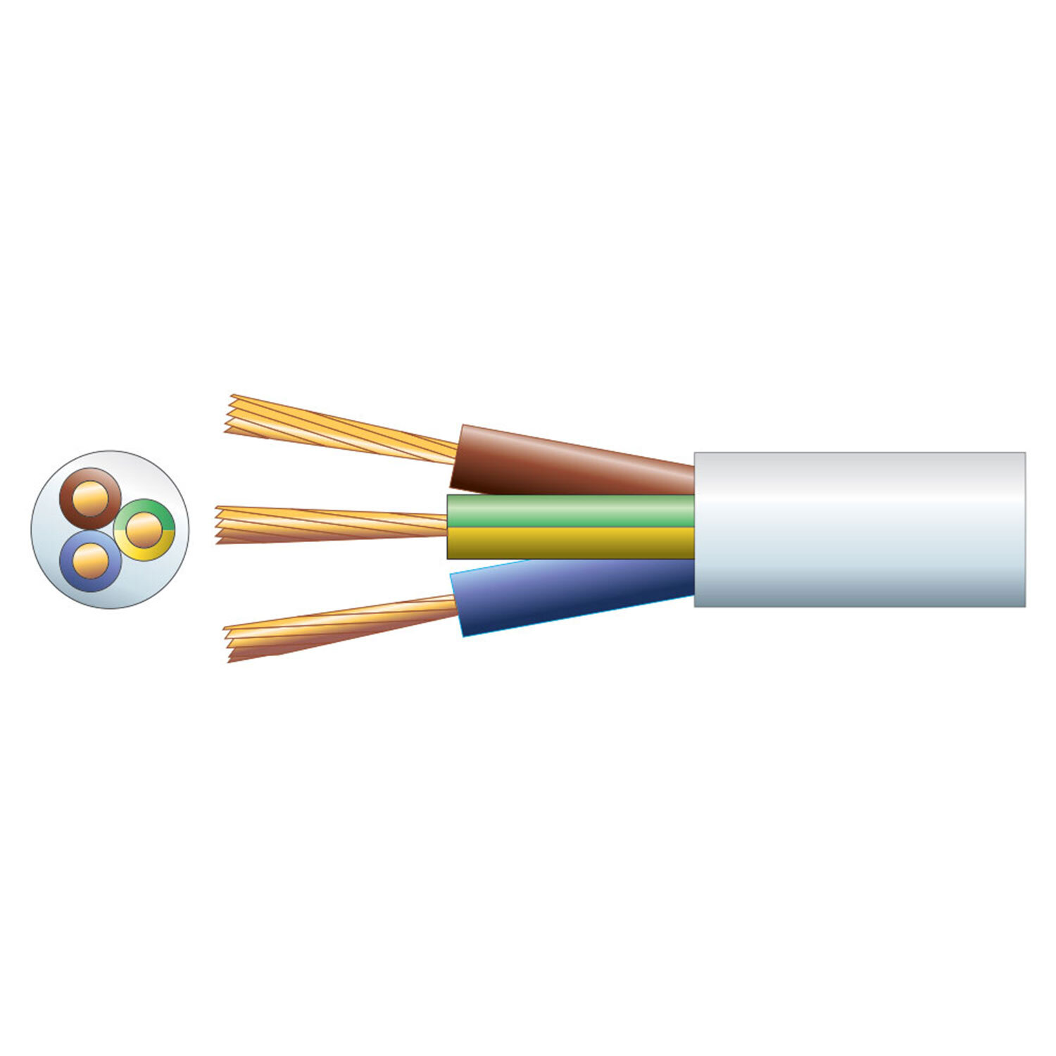 Mains Cable 50MTR 6A-3 Core White