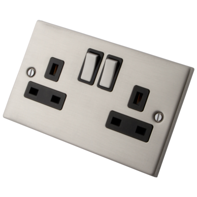 Stainless Steel Switched Socket 2 Gang 13 Amp