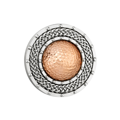 RHODIUM RGP DOME ROUND BROOCH