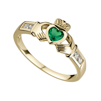 Ten karat Gold Claddagh ring with Emerald Heart and Cubic Zirconia Shoulders