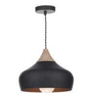Dar Gaucho 1 LIGHT E27  Pendant Black with wood detailing