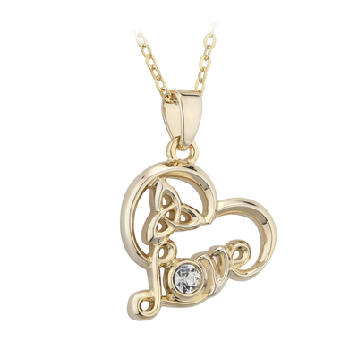 GOLD PLATED CRYSTAL LOVE HEART PENDANT