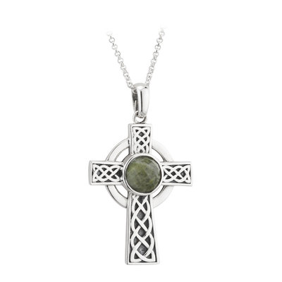 sterling silver connemara marble celtic cross necklace s46173 from Solvar