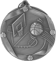 60mm Antique Silver Basketball Medal