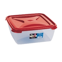 Cuisine 10ltr Large Square Food Box Chili Red Lid