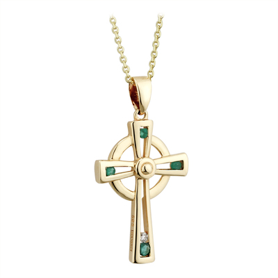 9K EMERALD & CZ CROSS PENDANT(BOXED)