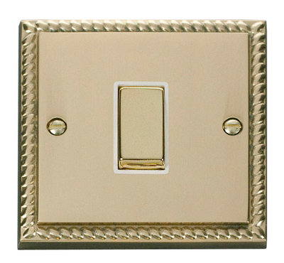Click Deco Georgian Cast Brass with White Insert 1 Gang 2 Way 'Ingot' Switch | LV0101.0052