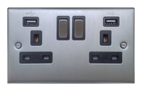 FEP Low Profile  Satin Chrome 13A 2G Switch Socket with USB Skt Black Insert Chrome Switch | LV0801.0012
