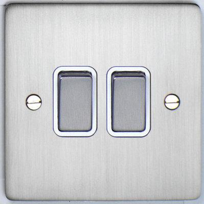 DETA Flat Plate 2gang switch Satin Chrome with White Insert | LV0201.0181