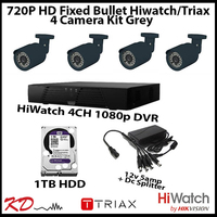 4 Camera CCTV 720p Fixed Bullet Kit - Grey