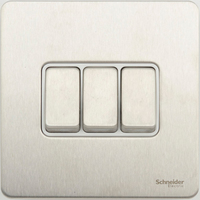 Schneider Ultimate Screwless 3Gang 2way Switch Stainless Steel white|LV0701.0913