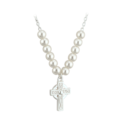 RHODIUM PLATED PEARL CROSS NECKLET