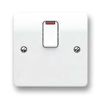 MK LOGIC PLUS DOUBLE POLE SWITCH WITH NEON AND FLEX OUTLET 20AMP