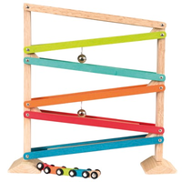 Wooden zig-zag car track toy with bells