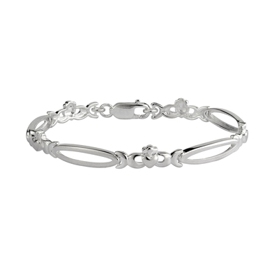 S/S SHINY CLADDAGH OPEN LINK BRACLET (BOXED)