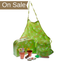 Children's Butterfly Gardening Set with apron, sun hat, and gardening tools.