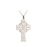 back side of large Apostles Celtic cross necklace S46605 embossed with celtic knotwork and Apostles names