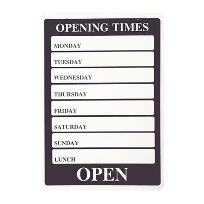 SHOPWORX OCH1 hanging sign Opening Times 205x301mm