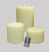 Ivory Flickering Candles Set of 3 with Remote Control
