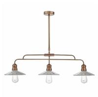 Adeline Bar 3 Light Pendant, Brushed Copper & Glass | LV1802.0046
