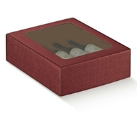 Three Bottle Burgundy Wine Box with Clear window.