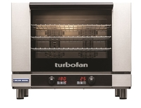Blue Seal Turbofan Convection Oven, electric, countertop, 810 mm wide, (4) tray capacity, (4) wire racks, digital control, programmable, steam injection, (1) drop down glass door, internal light, twin Bi-directional reversing fan system, stainless steel t
